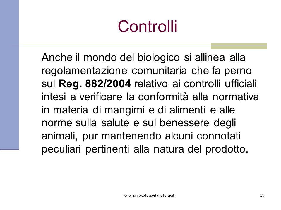 www.avvocatogaetanoforte.it29 Controlli Anche il mondo del biologico si allinea alla regolamentazione comunitaria che fa perno sul Reg. 882/2004 relat
