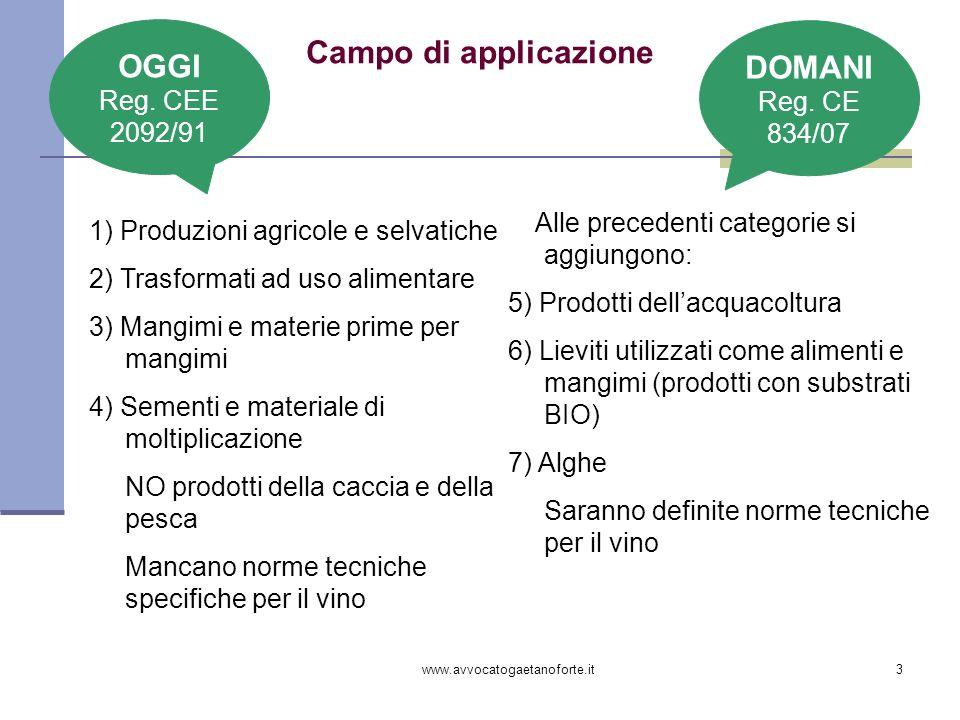 www.avvocatogaetanoforte.it3 Campo di applicazione 1) Produzioni agricole e selvatiche 2) Trasformati ad uso alimentare 3) Mangimi e materie prime per