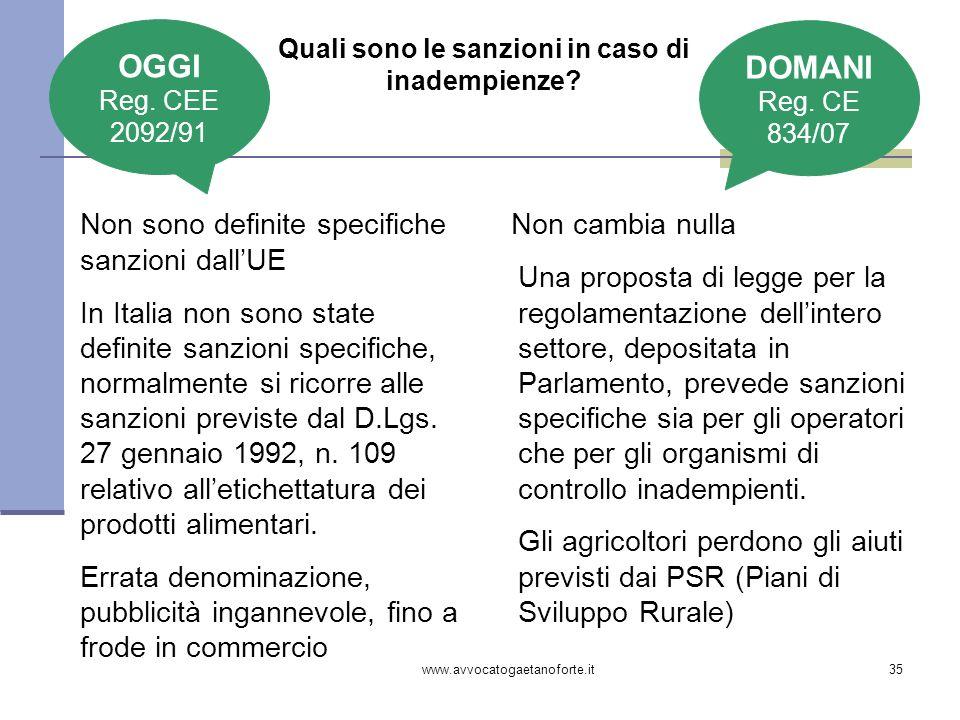 www.avvocatogaetanoforte.it35 Quali sono le sanzioni in caso di inadempienze? Non sono definite specifiche sanzioni dallUE In Italia non sono state de