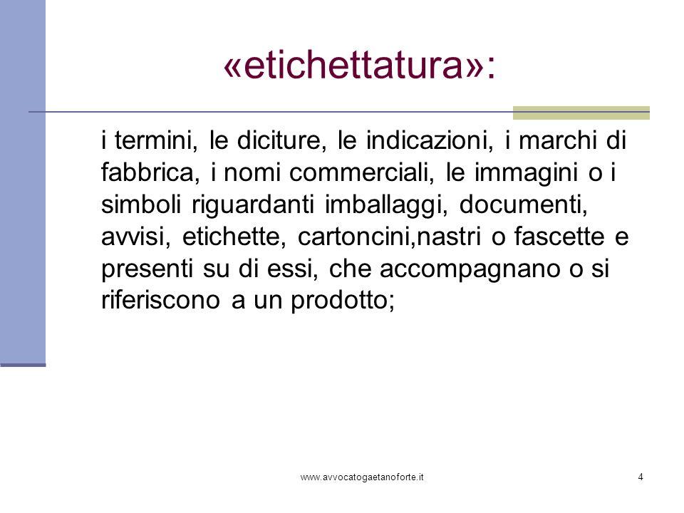 www.avvocatogaetanoforte.it4 «etichettatura»: i termini, le diciture, le indicazioni, i marchi di fabbrica, i nomi commerciali, le immagini o i simbol