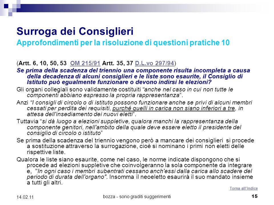bozza - sono graditi suggerimenti15 14.02.11 Surroga dei Consiglieri Approfondimenti per la risoluzione di questioni pratiche 10 (Artt.