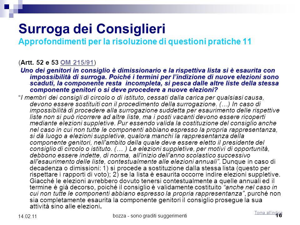bozza - sono graditi suggerimenti16 14.02.11 Surroga dei Consiglieri Approfondimenti per la risoluzione di questioni pratiche 11 (Artt.