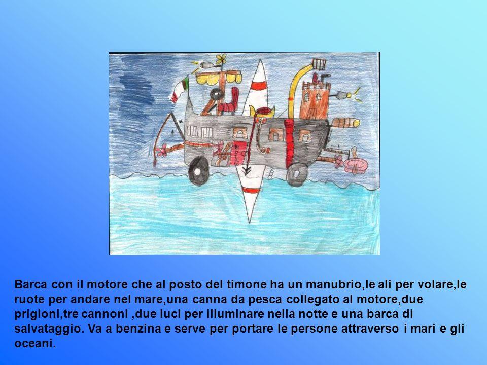 Barca con il motore che al posto del timone ha un manubrio,le ali per volare,le ruote per andare nel mare,una canna da pesca collegato al motore,due prigioni,tre cannoni,due luci per illuminare nella notte e una barca di salvataggio.