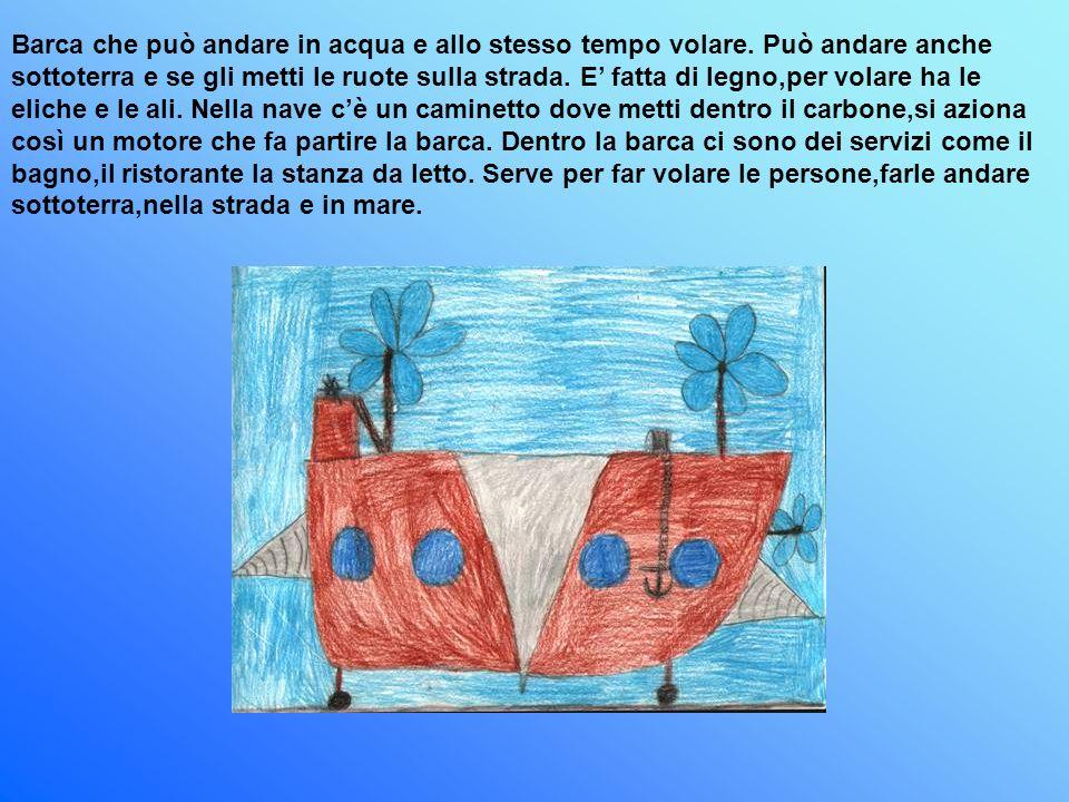 Barca che può andare in acqua e allo stesso tempo volare. Può andare anche sottoterra e se gli metti le ruote sulla strada. E fatta di legno,per volar