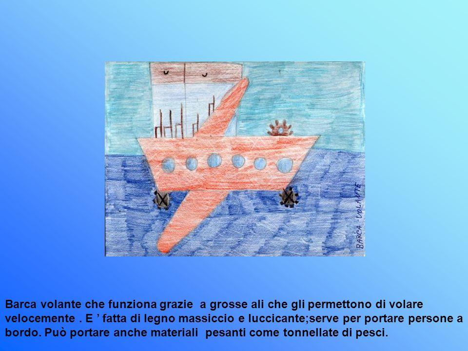 Barca volante che funziona grazie a grosse ali che gli permettono di volare velocemente. E fatta di legno massiccio e luccicante;serve per portare per