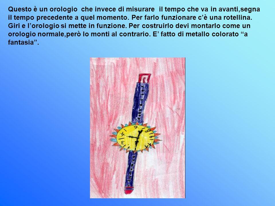 Questo è un orologio che invece di misurare il tempo che va in avanti,segna il tempo precedente a quel momento. Per farlo funzionare cè una rotellina.