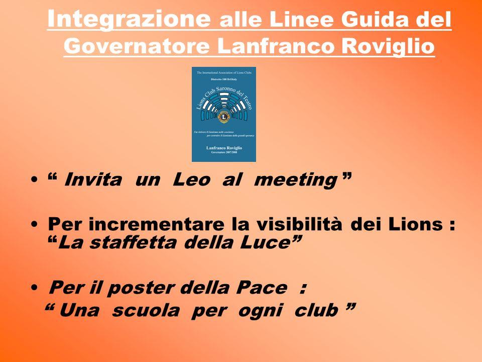 Integrazione alle Linee Guida del Governatore Lanfranco Roviglio Invita un Leo al meeting Per incrementare la visibilità dei Lions :La staffetta della