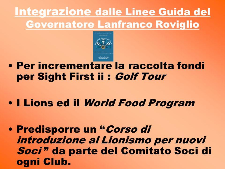 Integrazione dalle Linee Guida del Governatore Lanfranco Roviglio Per incrementare la raccolta fondi per Sight First ii : Golf Tour I Lions ed il World Food Program Predisporre un Corso di introduzione al Lionismo per nuovi Soci da parte del Comitato Soci di ogni Club.