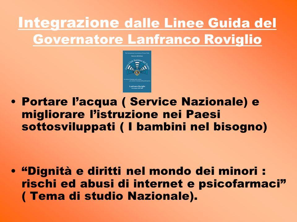 Integrazione dalle Linee Guida del Governatore Lanfranco Roviglio Portare lacqua ( Service Nazionale) e migliorare listruzione nei Paesi sottosviluppa