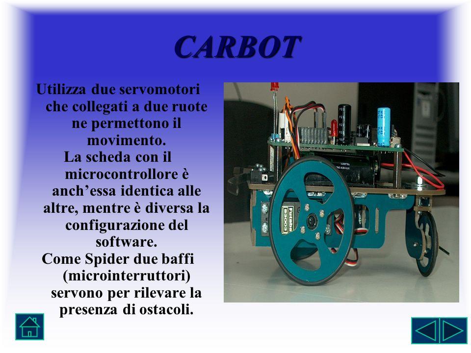 CARBOT Utilizza due servomotori che collegati a due ruote ne permettono il movimento. La scheda con il microcontrollore è anchessa identica alle altre