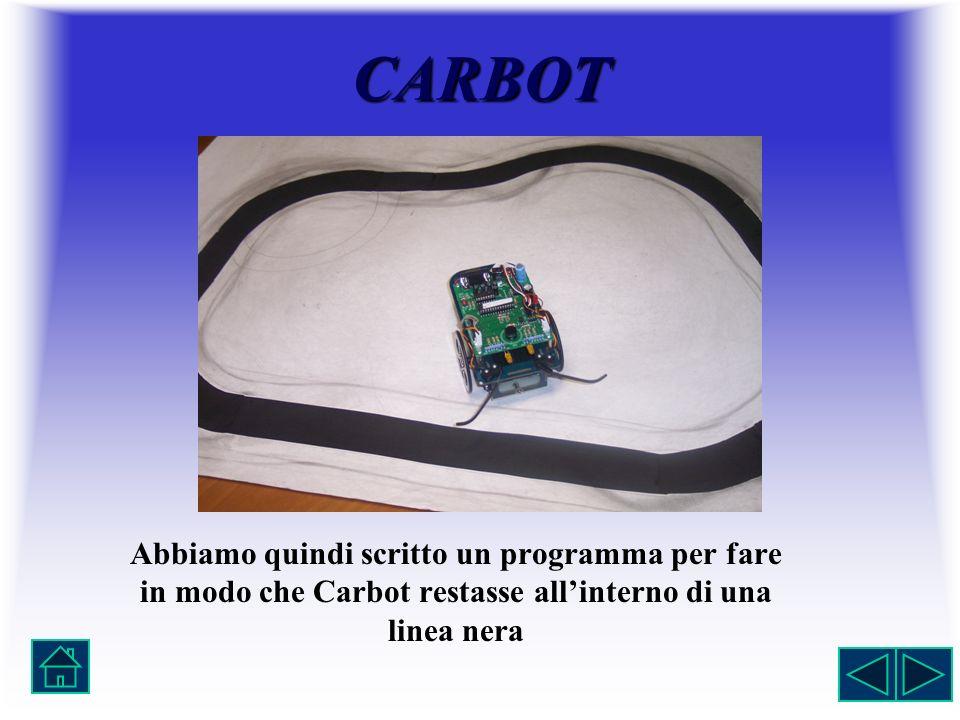 Abbiamo quindi scritto un programma per fare in modo che Carbot restasse allinterno di una linea nera CARBOT