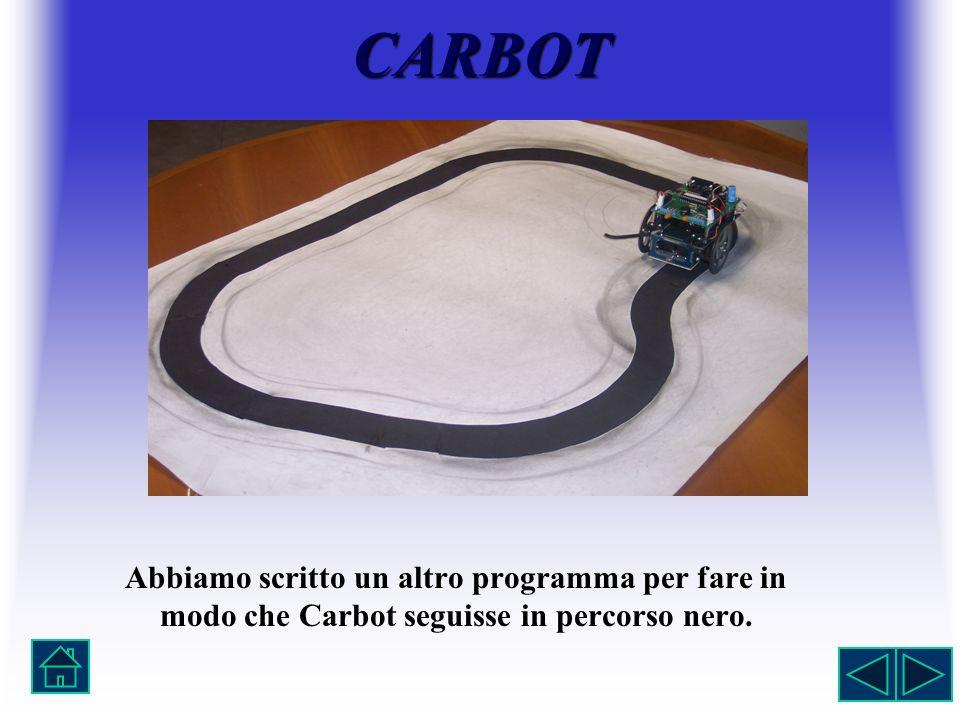 Abbiamo scritto un altro programma per fare in modo che Carbot seguisse in percorso nero. CARBOT