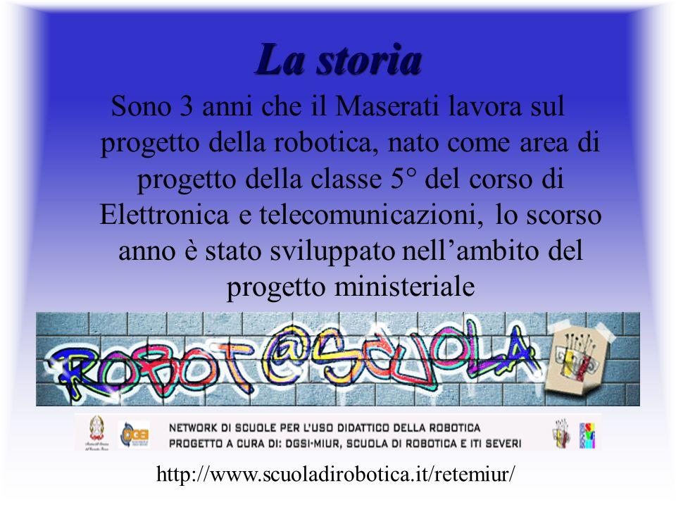 La storia Sono 3 anni che il Maserati lavora sul progetto della robotica, nato come area di progetto della classe 5° del corso di Elettronica e teleco