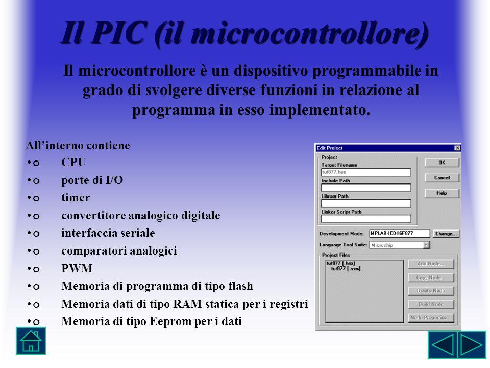 Il PIC (il microcontrollore) Il microcontrollore è un dispositivo programmabile in grado di svolgere diverse funzioni in relazione al programma in ess