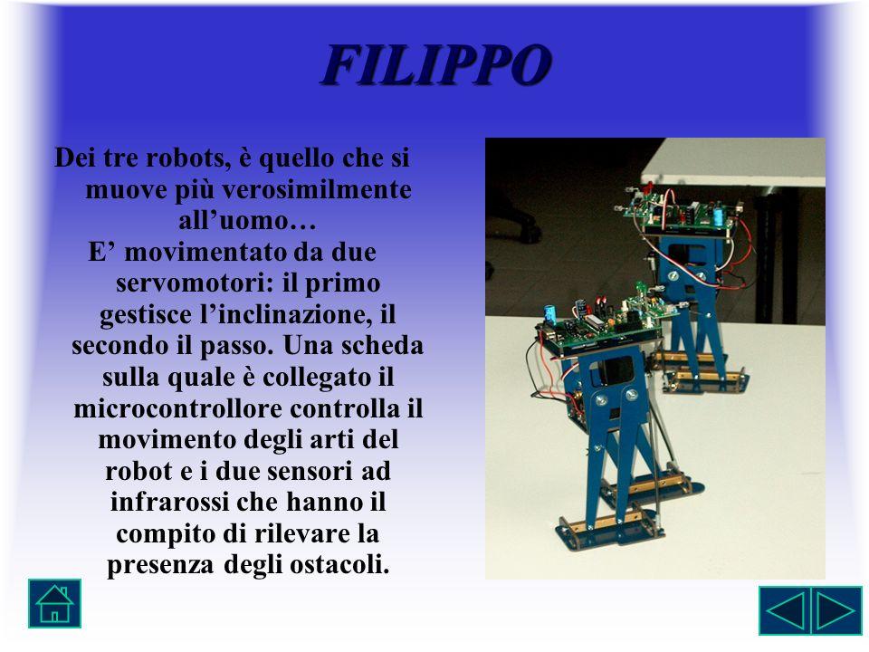 FILIPPO Dei tre robots, è quello che si muove più verosimilmente alluomo… E movimentato da due servomotori: il primo gestisce linclinazione, il second