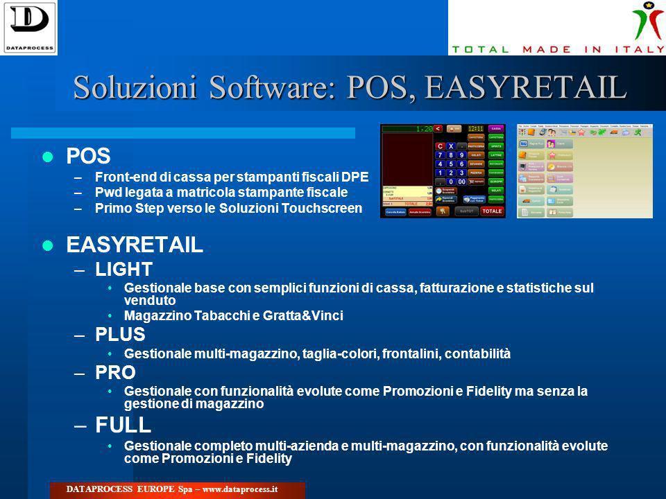 Soluzioni Software: POS, EASYRETAIL POS –Front-end di cassa per stampanti fiscali DPE –Pwd legata a matricola stampante fiscale –Primo Step verso le S