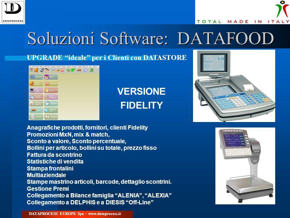 Soluzioni Software: DATAFOOD DATAPROCESS EUROPE Spa – www.dataprocess.it VERSIONE FIDELITY Anagrafiche prodotti, fornitori, clienti Fidelity Promozion