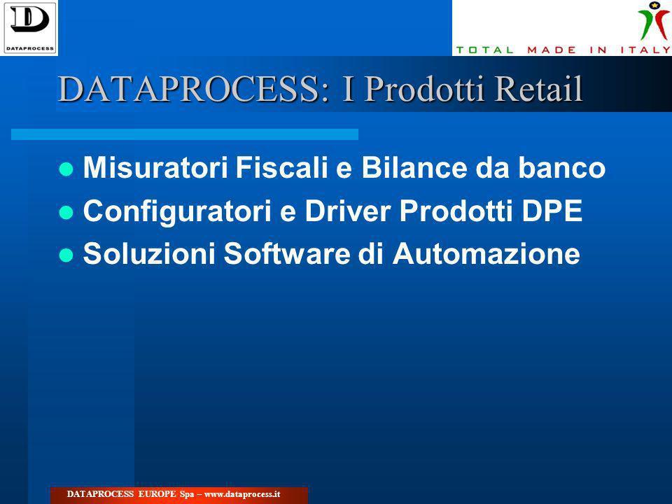 DATAPROCESS: I Prodotti Retail Misuratori Fiscali e Bilance da banco Configuratori e Driver Prodotti DPE Soluzioni Software di Automazione DATAPROCESS