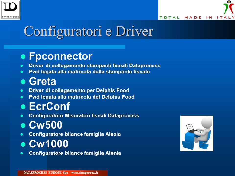 Configuratori e Driver Fpconnector Driver di collegamento stampanti fiscali Dataprocess Pwd legata alla matricola della stampante fiscale Greta Driver