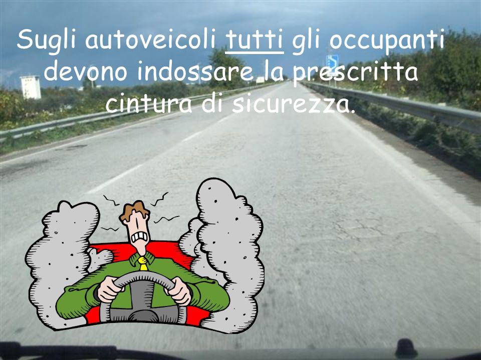 Sugli autoveicoli tutti gli occupanti devono indossare la prescritta cintura di sicurezza.
