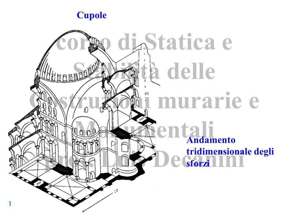 corso di Statica e Stabilità delle Costruzioni murarie e Monumentali prof. Luis Decanini 1 Cupole Andamento tridimensionale degli sforzi