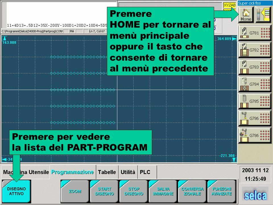 Premere per vedere la lista del PART-PROGRAM Premere HOME per tornare al menù principale oppure il tasto che consente di tornare al menù precedente