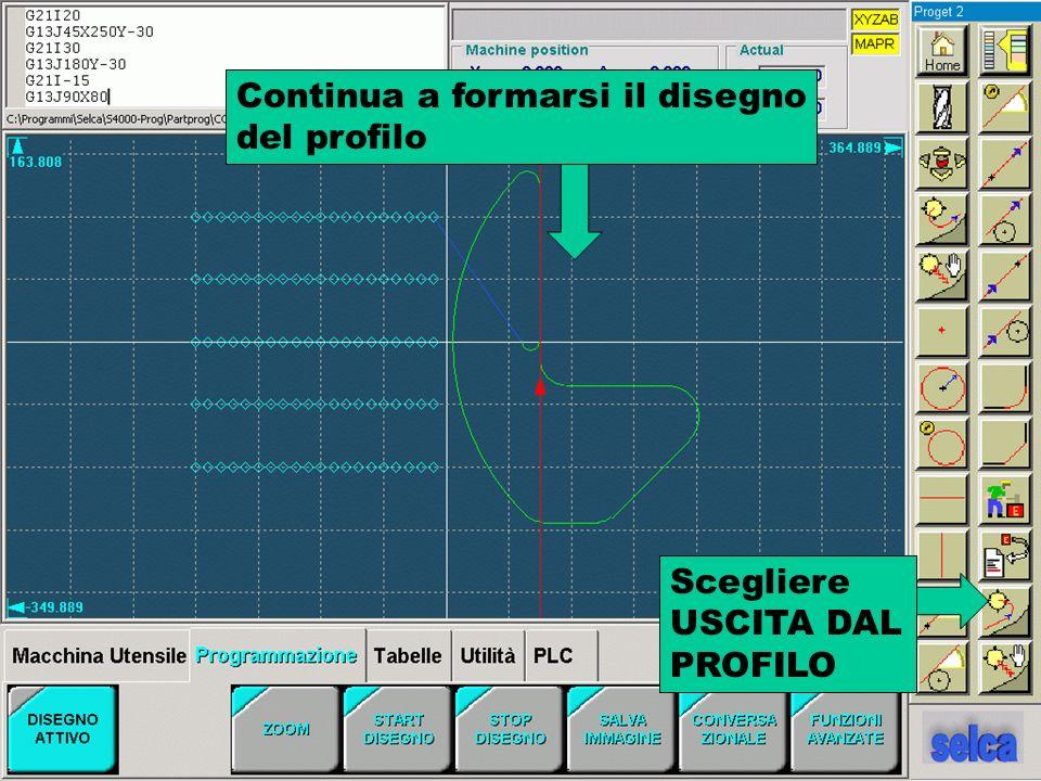 Continua a formarsi il disegno del profilo Scegliere USCITA DAL PROFILO