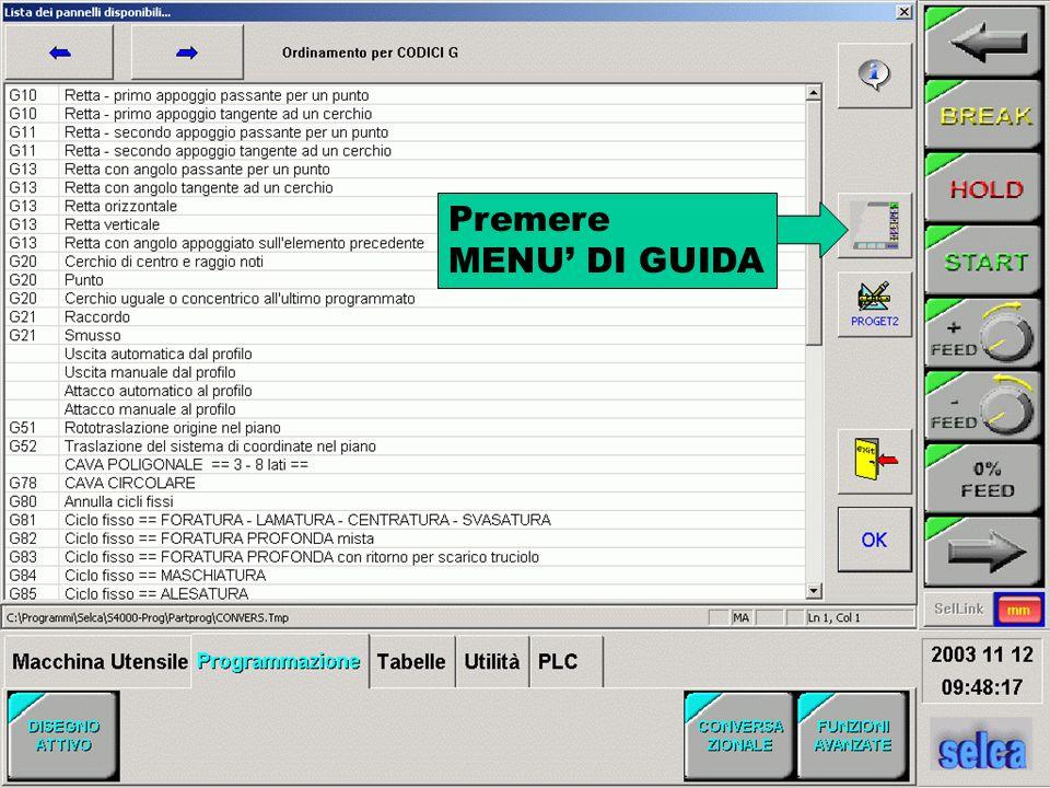 Premere M30 per terminare il programma Premere per vedere la lista del PART-PROGRAM