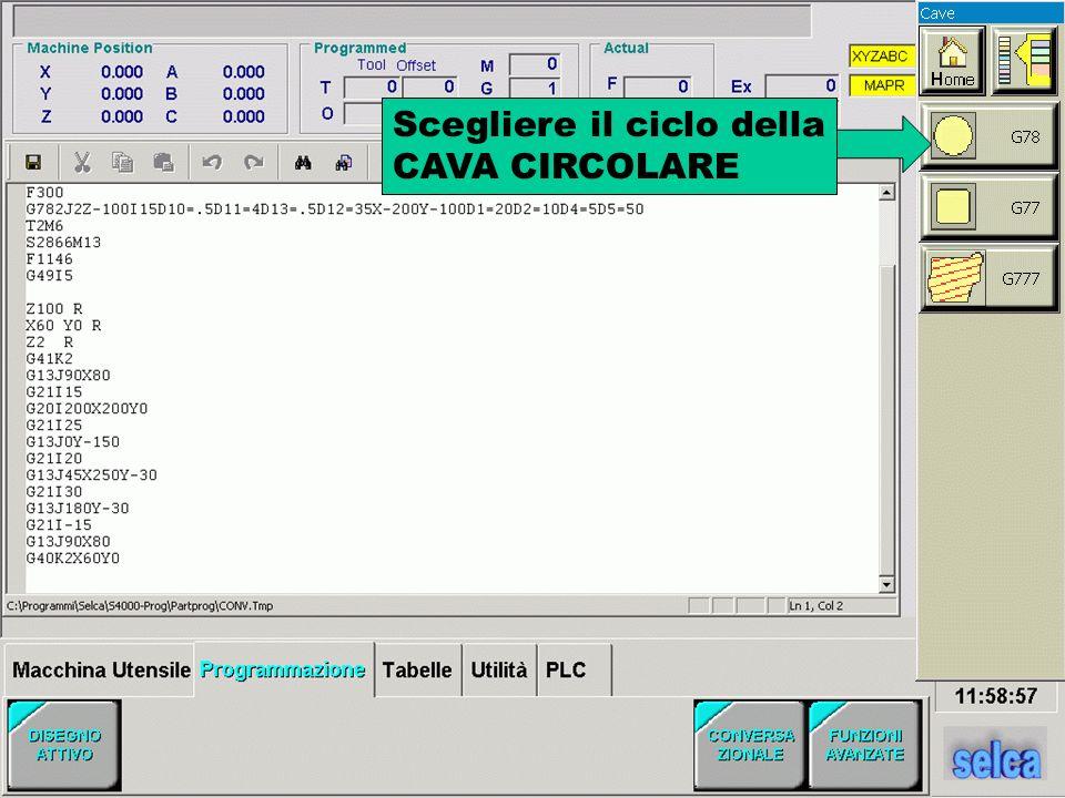 Scegliere il ciclo della CAVA CIRCOLARE