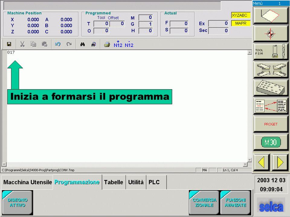 Continua a formarsi il programma Premere per vedere la grafica del percorso utensile calcolata