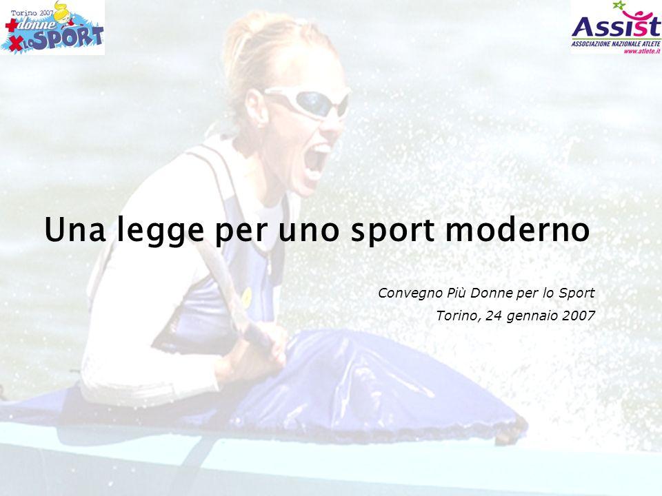 Convegno Più Donne per lo Sport - Torino, 24 gennaio 2007 - Luisa Rizzitelli – Presidente Assist Di rappresentare una realtà pilota in materia di costruzione dei diritti delle atlete siano esse grandi campionesse o dilettanti ma di fatto professioniste.