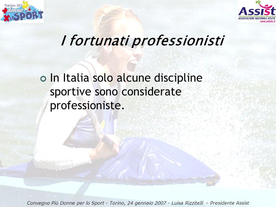 I fortunati professionisti Convegno Più Donne per lo Sport - Torino, 24 gennaio 2007 - Luisa Rizzitelli – Presidente Assist In Italia solo alcune discipline sportive sono considerate professioniste.