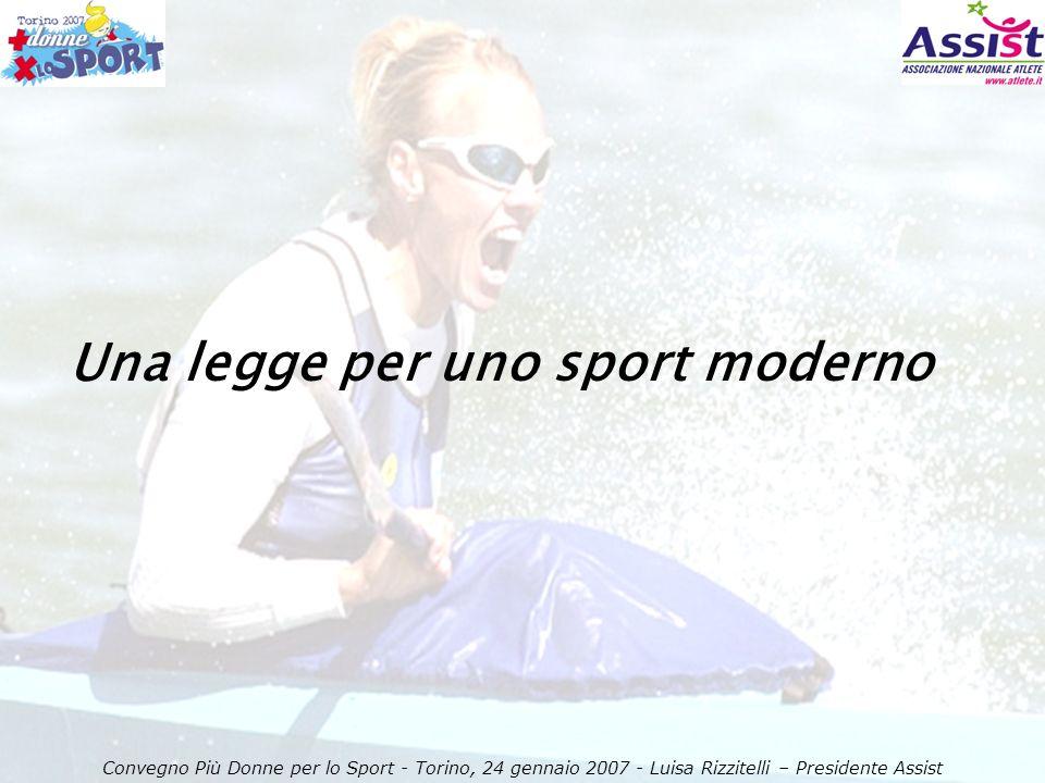 Una legge per uno sport moderno Convegno Più Donne per lo Sport - Torino, 24 gennaio 2007 - Luisa Rizzitelli – Presidente Assist