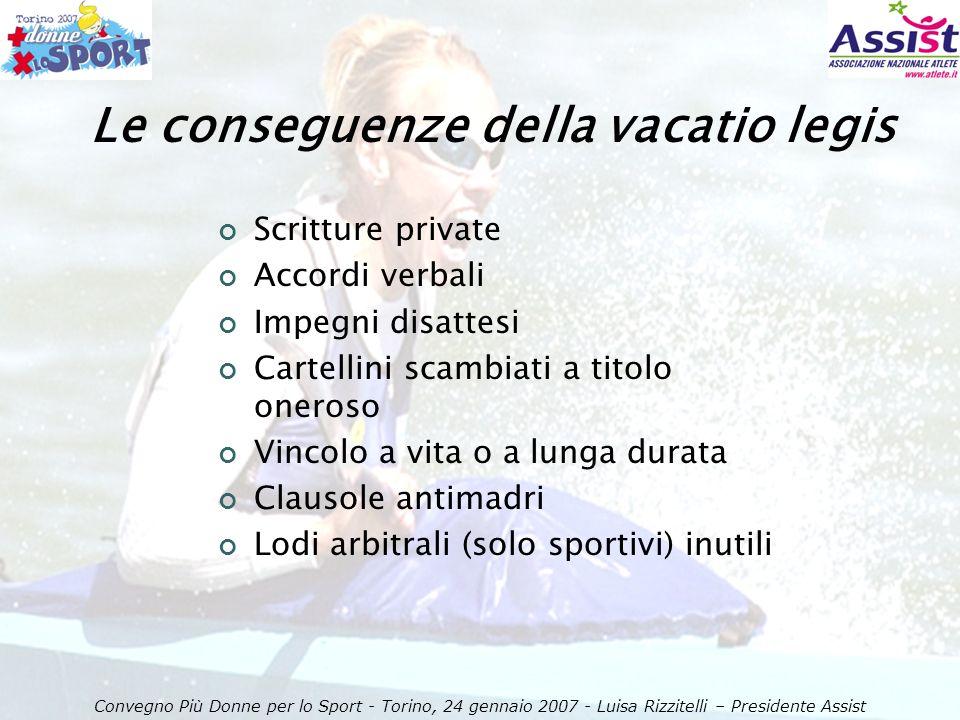 Convegno Più Donne per lo Sport - Torino, 24 gennaio 2007 - Luisa Rizzitelli – Presidente Assist Cosa chiede ASSIST in questa occasione