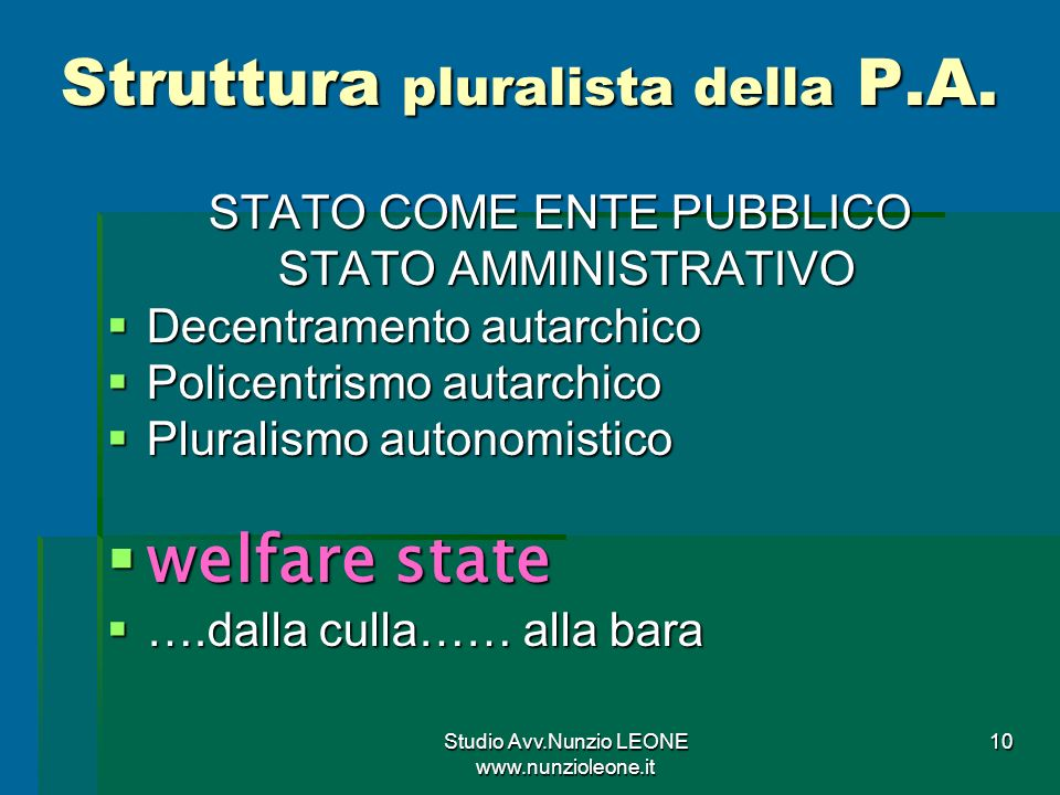 Studio Avv.Nunzio LEONE www.nunzioleone.it 10 Struttura pluralista della P.A.