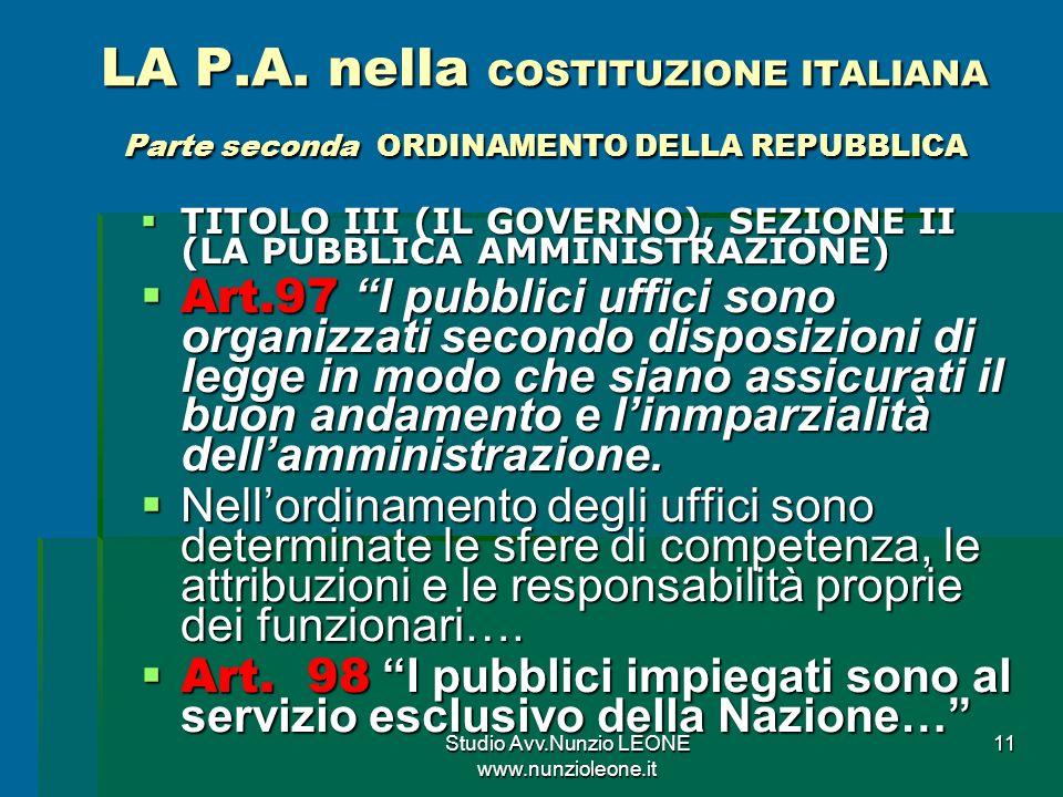 Studio Avv.Nunzio LEONE www.nunzioleone.it 11 LA P.A.