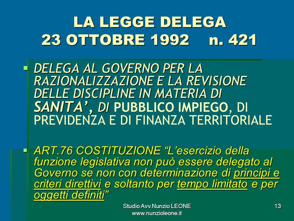 Studio Avv.Nunzio LEONE www.nunzioleone.it 13 LA LEGGE DELEGA 23 OTTOBRE 1992 n.