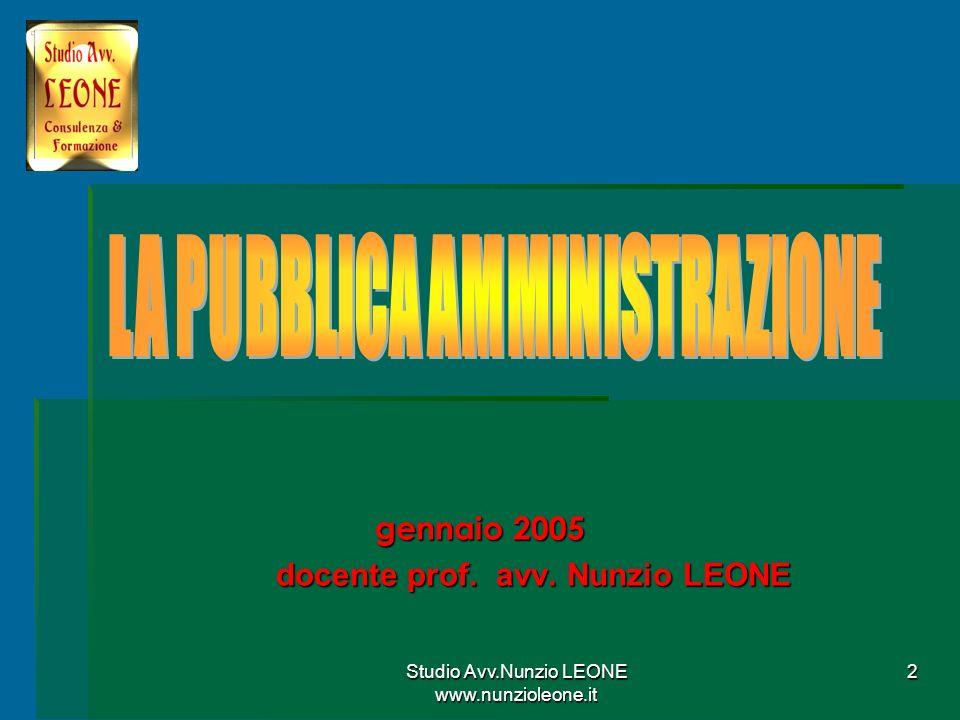 2 gennaio 2005 docente prof. avv. Nunzio LEONE docente prof. avv. Nunzio LEONE
