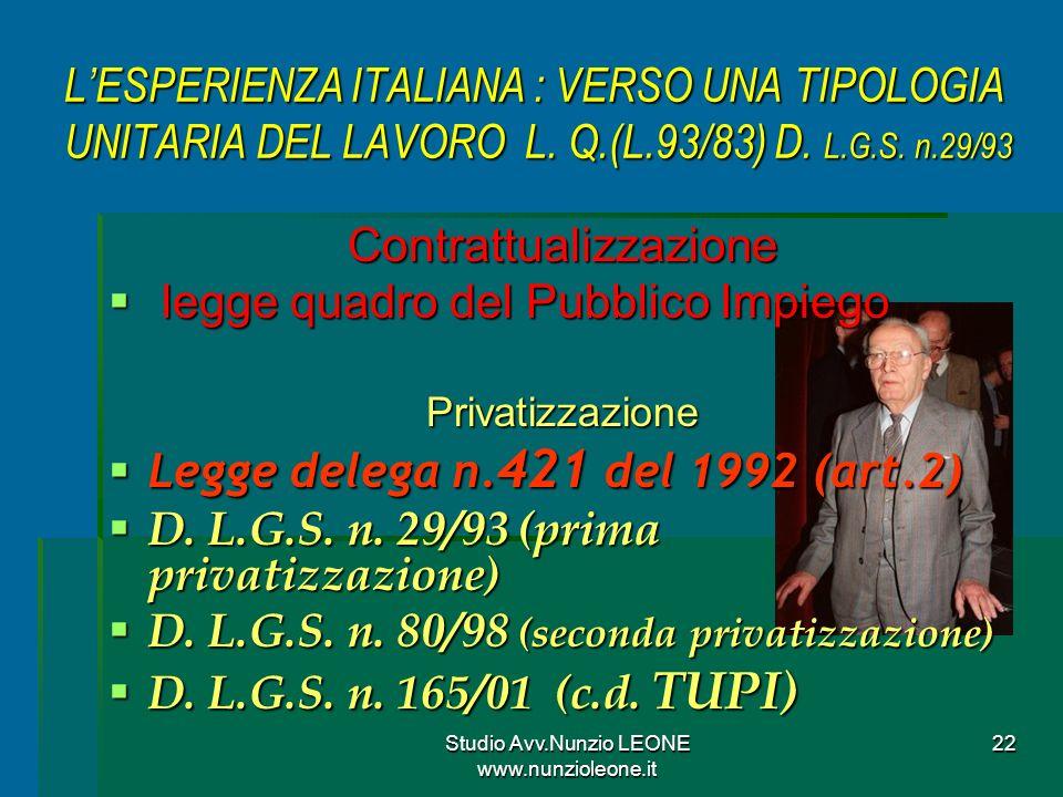 Studio Avv.Nunzio LEONE www.nunzioleone.it 22 LESPERIENZA ITALIANA : VERSO UNA TIPOLOGIA UNITARIA DEL LAVORO L.