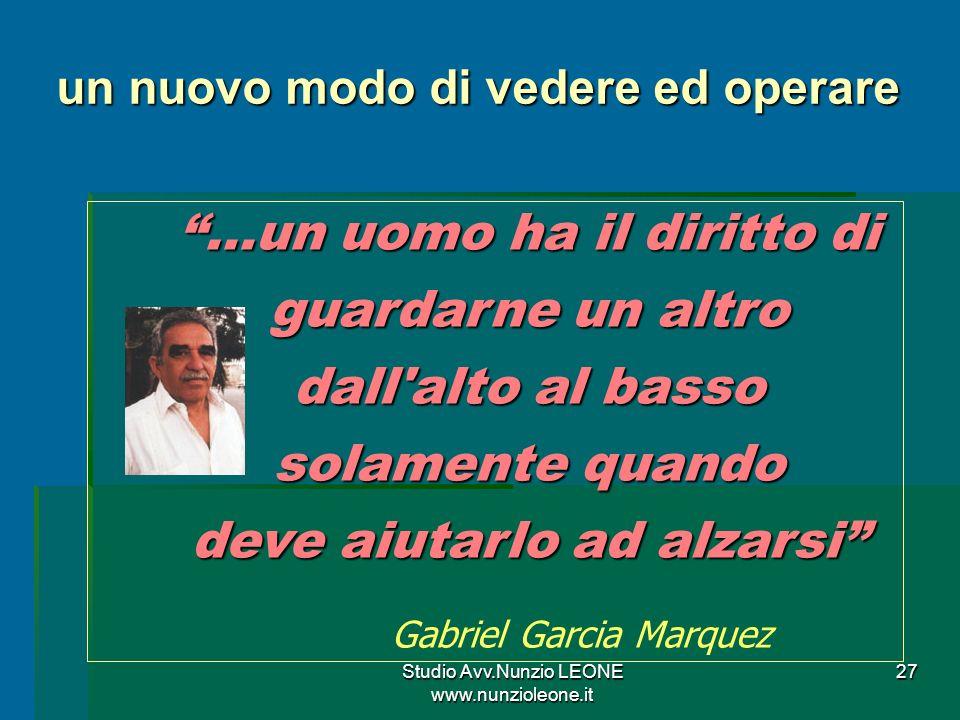 Studio Avv.Nunzio LEONE www.nunzioleone.it 27 …un uomo ha il diritto di guardarne un altro dall alto al basso solamente quando deve aiutarlo ad alzarsi Gabriel Garcia Marquez un nuovo modo di vedere ed operare
