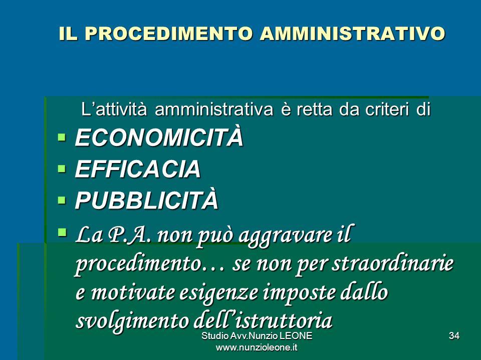 Studio Avv.Nunzio LEONE www.nunzioleone.it 34 IL PROCEDIMENTO AMMINISTRATIVO Lattività amministrativa è retta da criteri di ECONOMICITÀ ECONOMICITÀ EFFICACIA EFFICACIA PUBBLICITÀ PUBBLICITÀ La P.A.