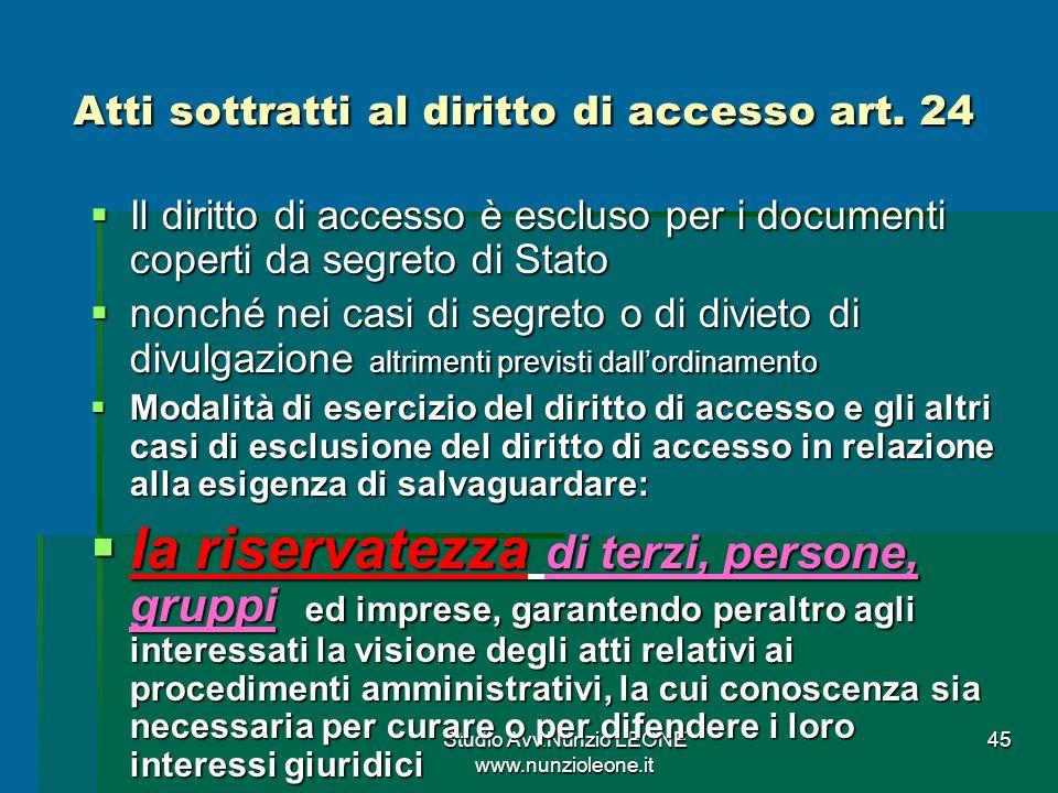 Studio Avv.Nunzio LEONE www.nunzioleone.it 45 Atti sottratti al diritto di accesso art.