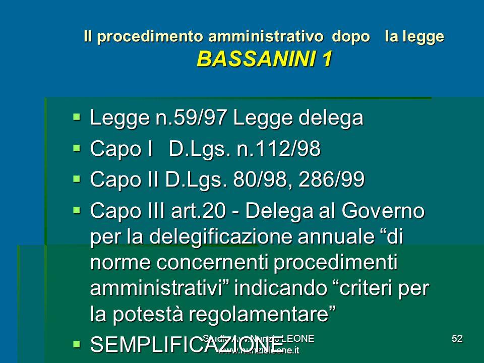 Studio Avv.Nunzio LEONE www.nunzioleone.it 52 Il procedimento amministrativo dopo la legge BASSANINI 1 Legge n.59/97 Legge delega Legge n.59/97 Legge delega Capo I D.Lgs.
