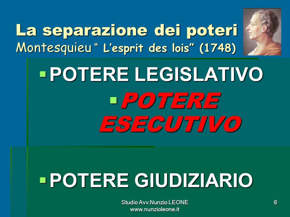 Studio Avv.Nunzio LEONE www.nunzioleone.it 6 La separazione dei poteri Montesquieu Lesprit des lois (1748) POTERE LEGISLATIVO POTERE LEGISLATIVO POTERE ESECUTIVO POTERE ESECUTIVO POTERE GIUDIZIARIO POTERE GIUDIZIARIO