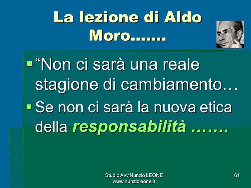 Studio Avv.Nunzio LEONE www.nunzioleone.it 61 La lezione di Aldo Moro…….