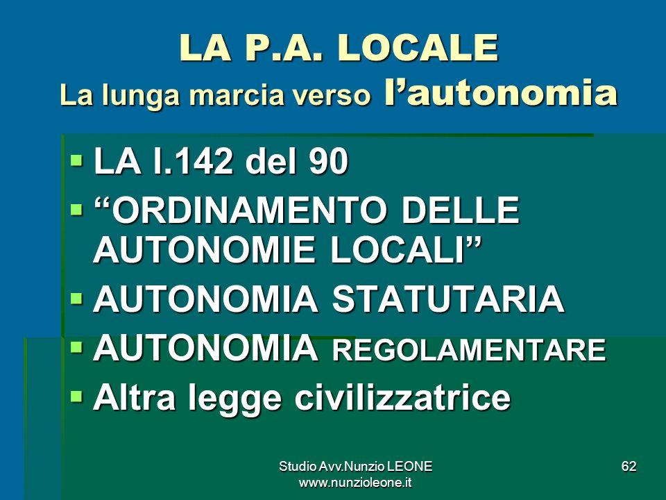 Studio Avv.Nunzio LEONE www.nunzioleone.it 62 LA P.A.