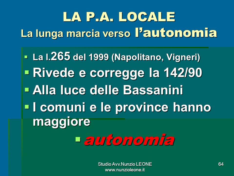 Studio Avv.Nunzio LEONE www.nunzioleone.it 64 LA P.A.