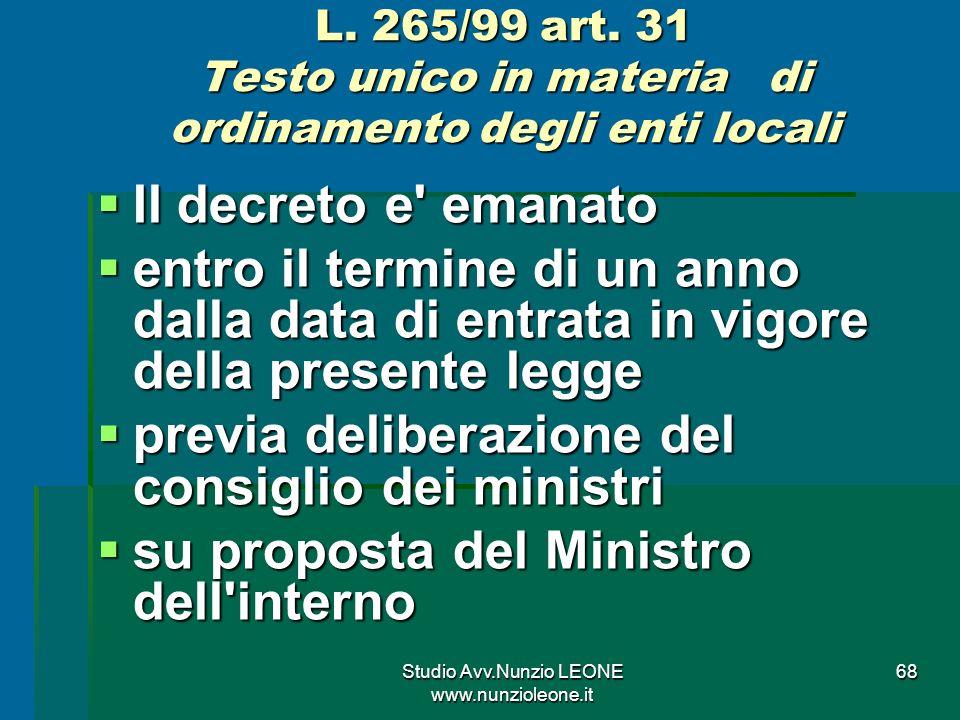 Studio Avv.Nunzio LEONE www.nunzioleone.it 68 L.265/99 art.