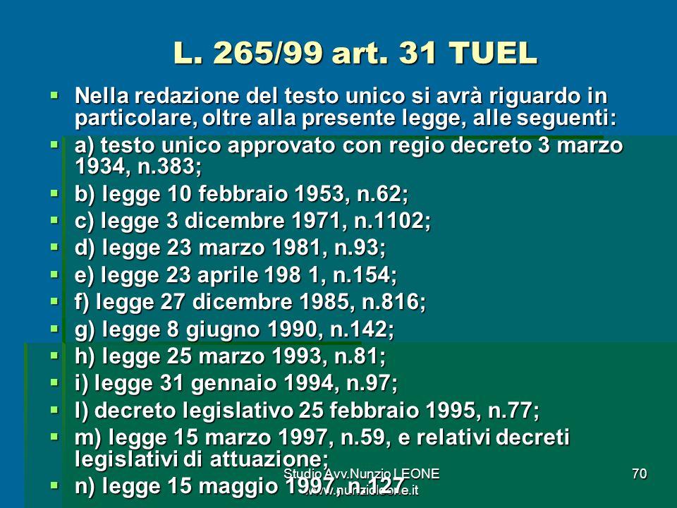 Studio Avv.Nunzio LEONE www.nunzioleone.it 70 L.265/99 art.