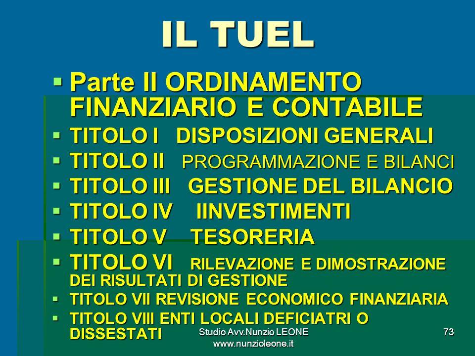 Studio Avv.Nunzio LEONE www.nunzioleone.it 73 IL TUEL Parte II ORDINAMENTO FINANZIARIO E CONTABILE Parte II ORDINAMENTO FINANZIARIO E CONTABILE TITOLO I DISPOSIZIONI GENERALI TITOLO I DISPOSIZIONI GENERALI TITOLO II PROGRAMMAZIONE E BILANCI TITOLO II PROGRAMMAZIONE E BILANCI TITOLO III GESTIONE DEL BILANCIO TITOLO III GESTIONE DEL BILANCIO TITOLO IV IINVESTIMENTI TITOLO IV IINVESTIMENTI TITOLO V TESORERIA TITOLO V TESORERIA TITOLO VI RILEVAZIONE E DIMOSTRAZIONE DEI RISULTATI DI GESTIONE TITOLO VI RILEVAZIONE E DIMOSTRAZIONE DEI RISULTATI DI GESTIONE TITOLO VII REVISIONE ECONOMICO FINANZIARIA TITOLO VII REVISIONE ECONOMICO FINANZIARIA TITOLO VIII ENTI LOCALI DEFICIATRI O DISSESTATI TITOLO VIII ENTI LOCALI DEFICIATRI O DISSESTATI